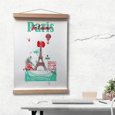 affiche Paris je t'aime avec la Tour Eiffel